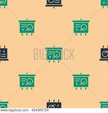 Green And Black Scenario On Chalkboard Icon Isolated Seamless Pattern On Beige Background. Script Re