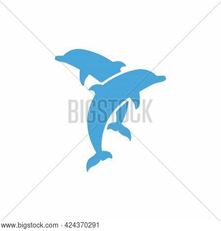 Couple Of Dolphins Icon Isolated On White Background. Blower Sign. Marine Nature Symbol. Swimmimg Po