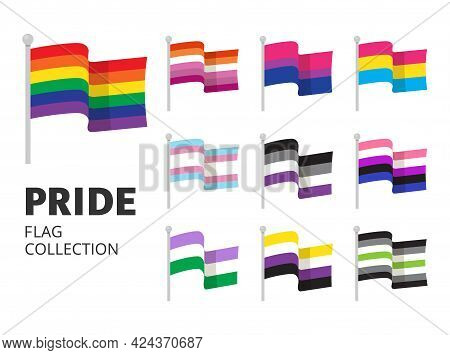 Pride Flag Collection In Flat Style. Lgbtq+ Sexual Identity Isolated On White Background. Vector Sto