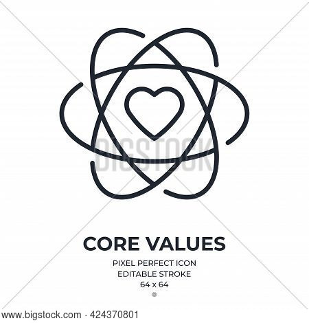 Core Values Editable Stroke Outline Icon Isolated On White Background Flat Vector Illustration. Pixe
