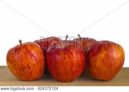 Orange Red Striped Apples On Wooden Table Close Up Isolated On White. Rustic Style, Selective Focus,