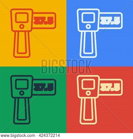 Pop Art Line Digital Contactless Thermometer With Infrared Light Icon Isolated On Color Background.