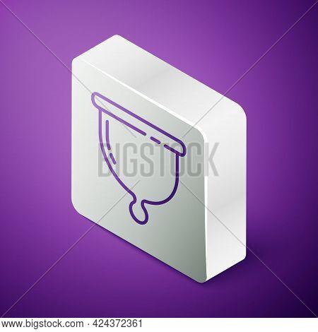 Isometric Line Menstrual Cup Icon Isolated On Purple Background. Feminine Hygiene. Protection For Wo