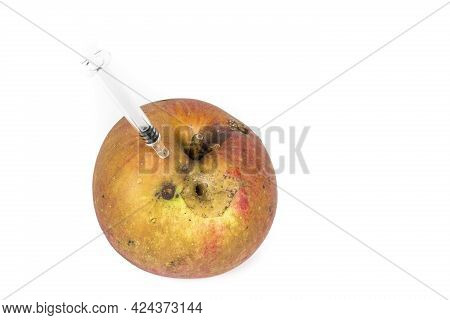 Close-up Boring Trace Of A Codling Moth Cydia Pomonella, In A Wormy Apple. On White Background. With