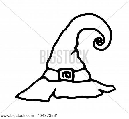 Cartoon Doodle Witch Hat.vector Witch Hat. Hand-drawn Witch Hat With A Sharp Curved Tip And Buckle,
