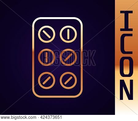 Gold Line Pills In Blister Pack Icon Isolated On Black Background. Medical Drug Package For Tablet,