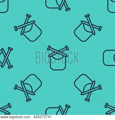 Black Line Knitting Icon Isolated Seamless Pattern On Green Background. Wool Emblem With Knitted Fab