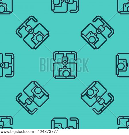 Black Line Gimbal Stabilizer With Dslr Camera Icon Isolated Seamless Pattern On Green Background. Ve