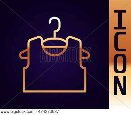 Gold Line Sleeveless T-shirt Icon Isolated On Black Background. Vector