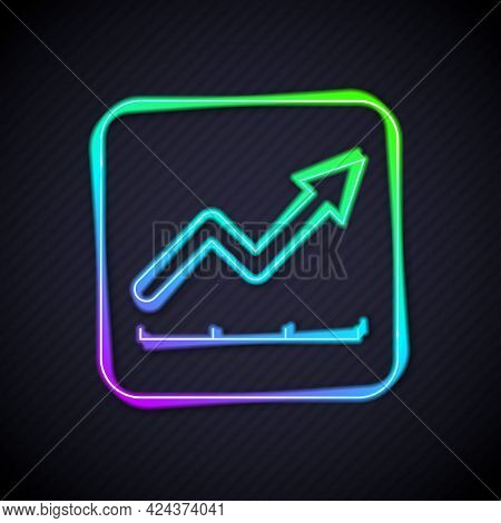 Glowing Neon Line Financial Growth Increase Icon Isolated On Black Background. Increasing Revenue. V
