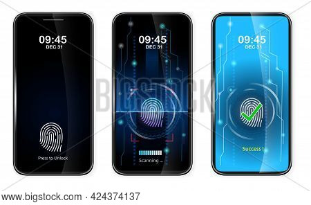 Set Of Realistic Finger Scan Access On Mobile Phone Or Scanning Finger On Smartphone To Unlock Scree