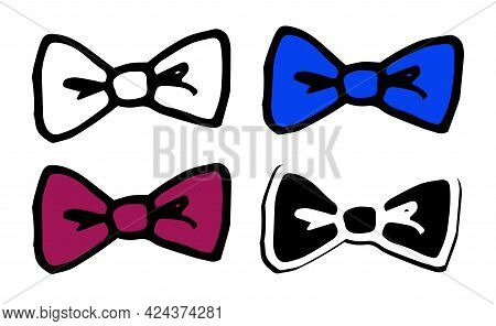 Vector Bow Tie Made Of A Ribbon Of Red, White And Blue Color.vector Set Of Bow Tie, Burgundy And Blu
