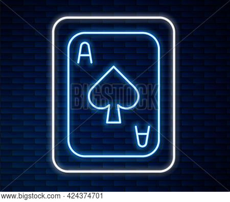 Glowing Neon Line Playing Cards Icon Isolated On Brick Wall Background. Casino Gambling. Vector