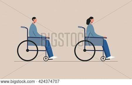 Young Disabled Woman And Man Sitting In A Wheelchair. Handicapped Characters. Disability,equal Oppor