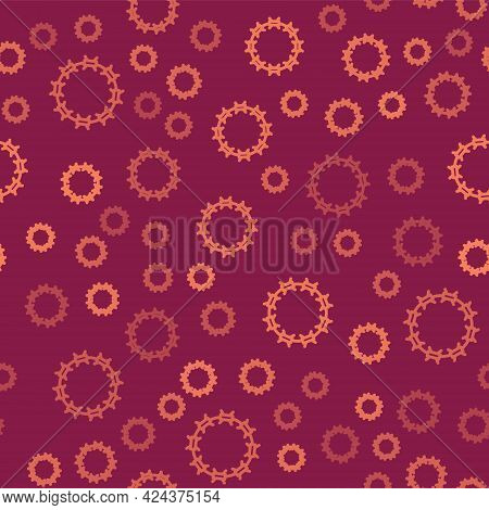 Brown Line Crown Of Thorns Of Jesus Christ Icon Isolated Seamless Pattern On Red Background. Religio