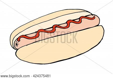 Street Food Fast Food Sausage In A Bun With Ketchup, Red Sauce Hand-drawn In Sketch Style Black Outl