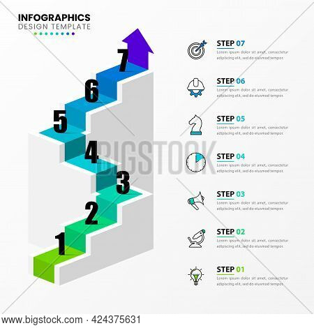 Infographic Design Template. Creative Concept With 7 Steps. Can Be Used For Workflow Layout, Diagram