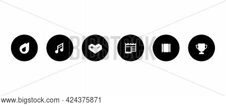 Menu Icon Set Collection Of Streaming App. Trending, Music, Gaming, News, Movies, And Sports. Vector
