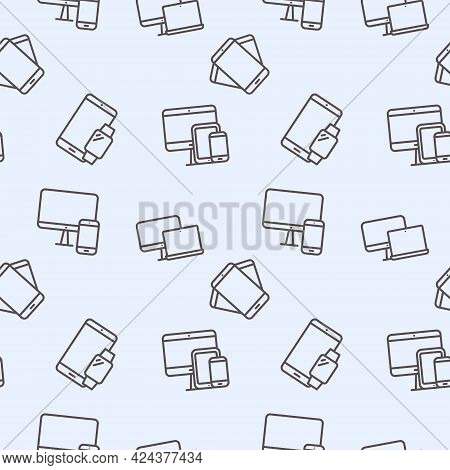Seamless Gadgets And Devices Pattern. Electronic Devices Including A Laptop, Smartphone, Mobile Phon