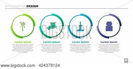 Set Magic Staff, Magician Hat In Hand, Sword The Stone And Bottle With Potion. Business Infographic