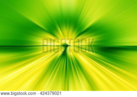 Abstract Radial Zoom Blur Surface Of Green And Yellow Tones. Abstract Bright Green-yellow Background