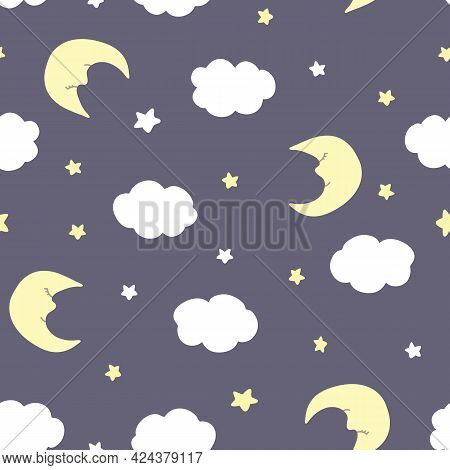 Vector Seamless Pattern With Crescent, Stars, And Clouds On Purple Backdrop. For  Fabric, Textile An