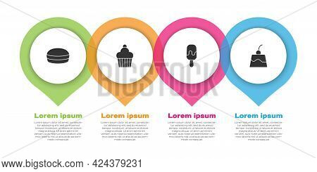 Set Macaron Cookie, Cake, Ice Cream And Pudding Custard. Business Infographic Template. Vector