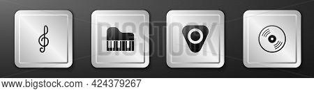 Set Treble Clef, Grand Piano, Guitar Pick And Vinyl Disk Icon. Silver Square Button. Vector