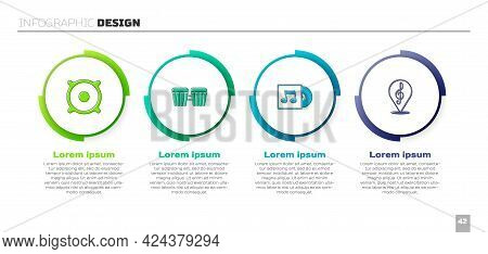 Set Stereo Speaker, Drum, Vinyl Disk And Treble Clef. Business Infographic Template. Vector
