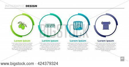 Set Olives Branch, Ancient Greek Pattern, Column And Decree, Parchment, Scroll. Business Infographic