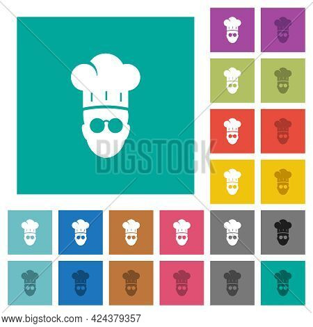 Chef With Glasses Multi Colored Flat Icons On Plain Square Backgrounds. Included White And Darker Ic