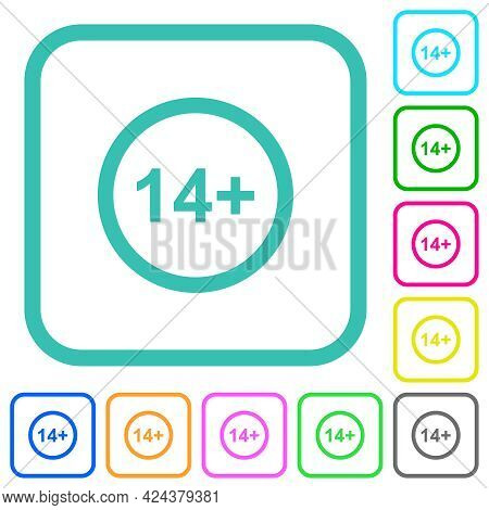Allowed Above 14 Years Only Vivid Colored Flat Icons In Curved Borders On White Background