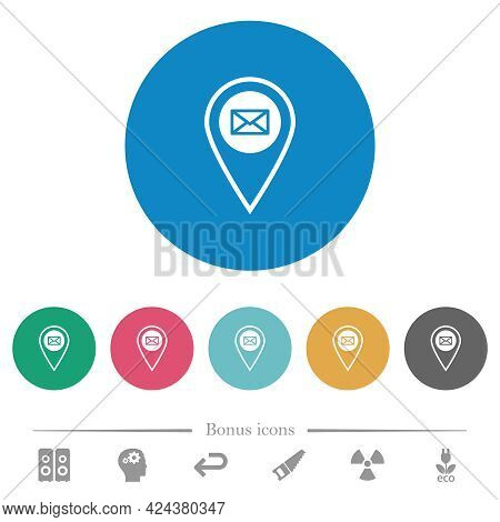 Gps Location Send Mail Flat White Icons On Round Color Backgrounds. 6 Bonus Icons Included.