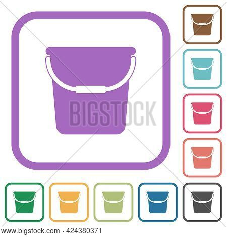 Single Bucket Simple Icons In Color Rounded Square Frames On White Background