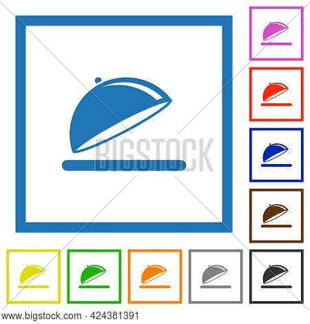 Open Food Tray With Gloss Flat Color Icons In Square Frames On White Background