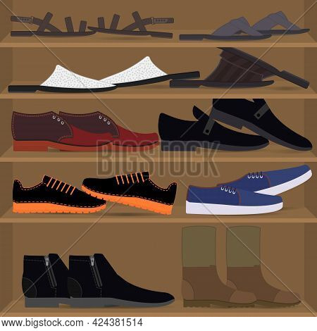 Set Of Scattered Men's Shoes On The Shelves. Different Types Of Mens Pair Footwear. Mess And Chaos I