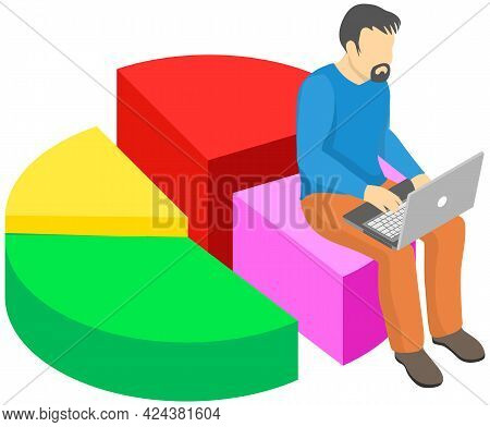 Male Analyst Sitting On Pie Chart And Working On Laptop Computer. Statistical Or Financial Data Anal