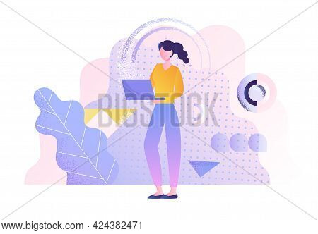 Young Woman Walking With Laptop On The Background Of Flying Abstract Shapes. Mobility, Internet Acce