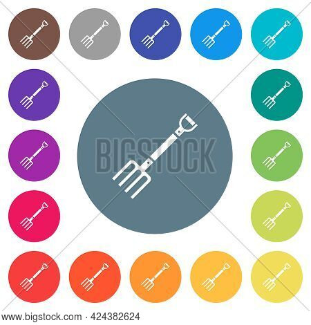 Pitchfork Flat White Icons On Round Color Backgrounds. 17 Background Color Variations Are Included.
