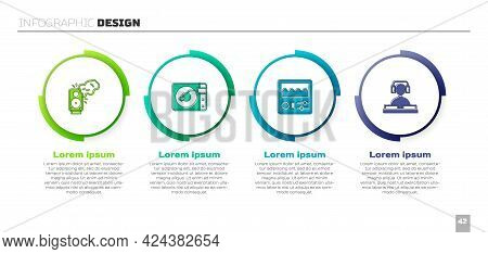 Set Stereo Speaker, Vinyl Player With Vinyl Disk, Drum Machine And Dj Playing Music. Business Infogr