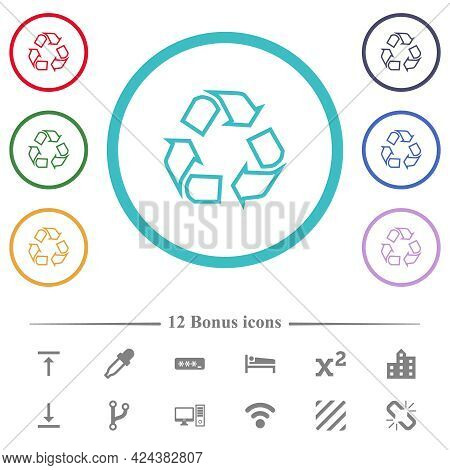 Recycling Outline Flat Color Icons In Circle Shape Outlines. 12 Bonus Icons Included.