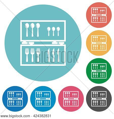 Flatware Box Flat White Icons On Round Color Backgrounds