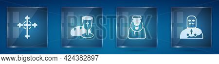 Set Christian Cross, Goblet And Bread, Monk And Knight Crusader. Square Glass Panels. Vector