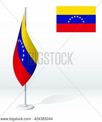 Venezuela Flag On Flagpole For Registration Of Solemn Event, Meeting Foreign Guests. National Indepe