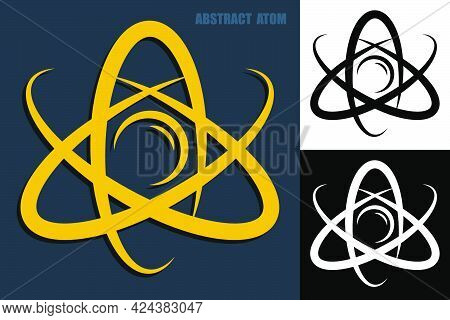 Abstract Atom Icon. Electrons Revolve Around Proton In Orbits. Nuclear Power. Vector