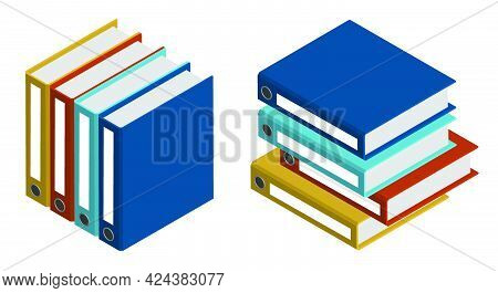 Isometric Archive With Documents. Storage Of Accounting, Financial And Personal Documents In Archive