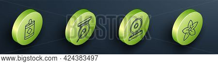 Set Isometric Firework, Gong, Gong And Lotus Flower Icon. Vector