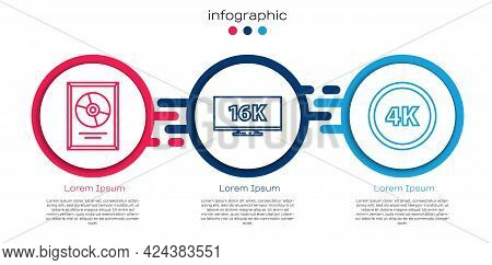 Set Line Cd Disk Award In Frame, Screen Tv With 16k And 4k Ultra Hd. Business Infographic Template.