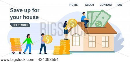 Saving To Buy House Or Home Savings Vector Illustration Concept Planning Savings Money To Buy A Home