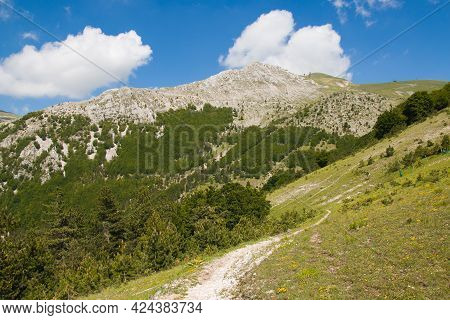Panorama From Frontignano Mountain Village In The Marche Region During Sunny Day Of Spring, Italy